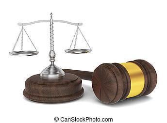 Juiz, martelo, escalas, lei, conceito