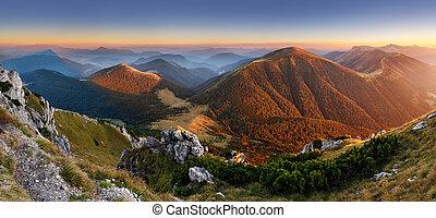 Autumn Slovakia mountain panorama - Slovakia mountain peak...