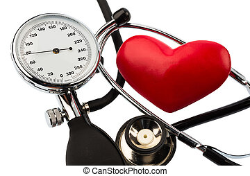 sphygmomanometer and heart - a blood pressure meter, a heart...