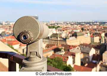 Telescope on a viewpoint in Zagreb, Croatia