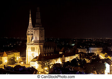 Zagreb cathedral at night on captol hill
