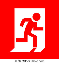 Fire exit red sign