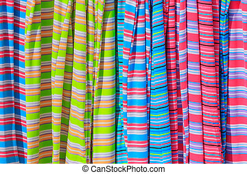 Striped cloth close to each other - Colorful striped cloth...