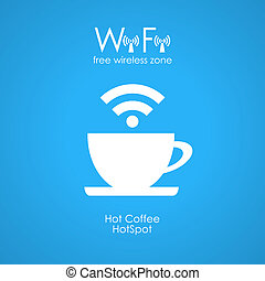 Free wifi cafe poster illustration