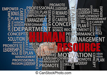 Human Resources Concept - Businessman pointing human...