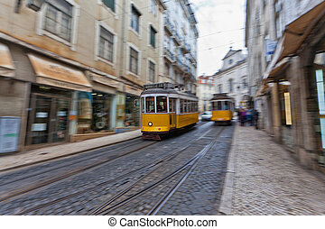 Lisbon tram 28 - View of the traditional yellow Tram 28...