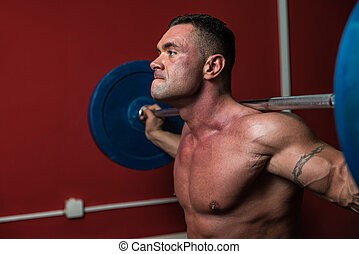 Body Builder doing squats with barbells - Bodybuilder Doing...