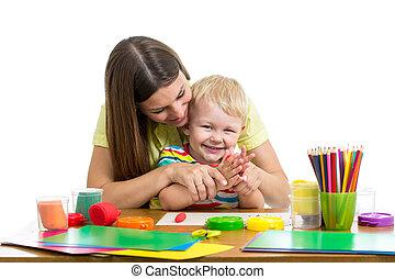 男孩, 玩, 孩子, 一起, 母親