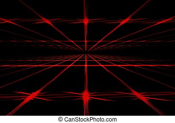 Red line abstract digital fractal art on perspective
