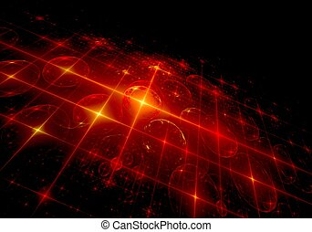 Abstract digital fractal red circle on perspective