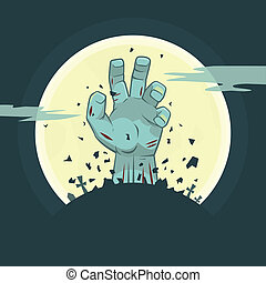 Vector zombie hand rising from the grave - Vector...