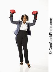 Businesswoman celebrating.