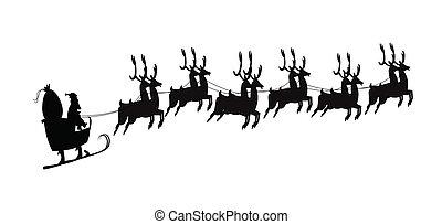 santa in sleigh silhouette