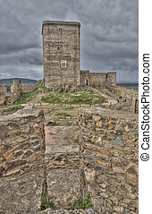 View of the homage tower from one battlement - The...