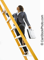 Businesswoman climbing ladder. - Businesswoman holding...