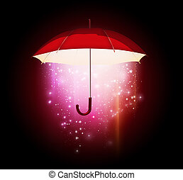 magical umbrella - magical glow coming from the umbrella on...