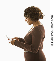 Woman cellphone texting - Woman pushing buttons on cellphone...