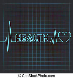 heartbeat make health word & heart - Illustration of...
