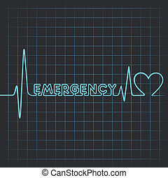 heartbeat make emergency word - Illustration of heartbeat...