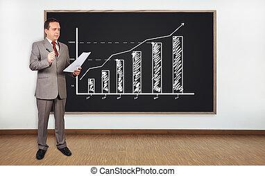hombre de negocios, gráfico