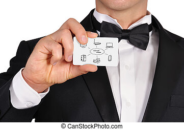 computer network - businessman holding visiting card with...