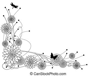 Floral border b&w - Fun whimsical floral border, mums...