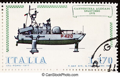 Hydrofoil postage stamp - ITALY CIRCA 1977: a stamp printed...