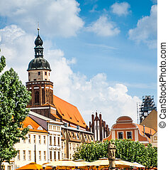 Cottbus - central square in the city of Cottbus Germany