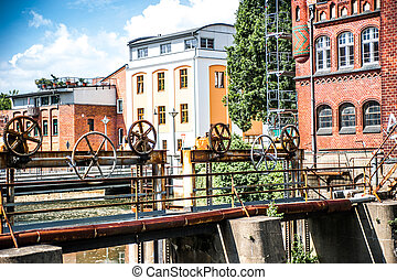 mechanical weir in Cottbus. Germany