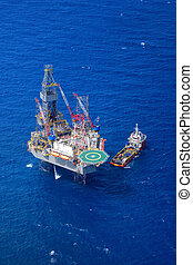 The offshore drilling oil rig top view from aircraft. - The...