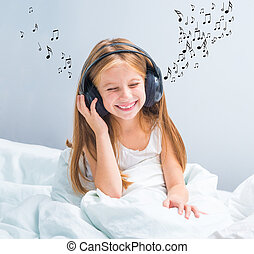 little pretty girl listening to music - little pretty girl...