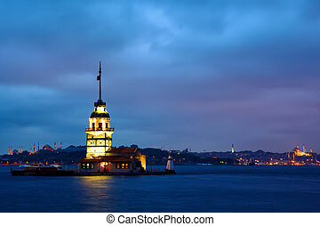 Maiden Tower Kiz Kulesi Leanders Tower at twilight,...