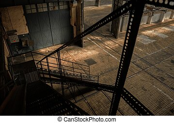 Industrial ladder in a factory