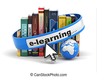 E-learning Books and earth on white background 3d