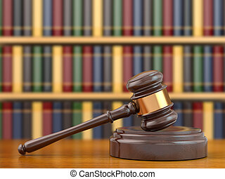 Concept of justice. Gavel and law books. 3d
