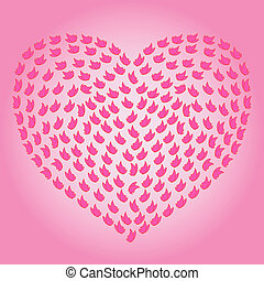 Heart with many small butterflies on the pink background as...