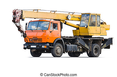 Truck Crane Isolated object on a white background