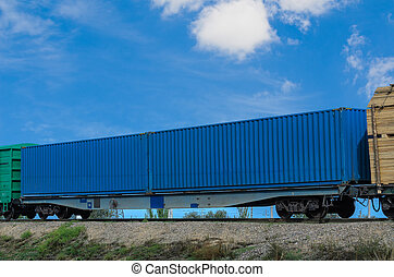 railway container on the wagon platform