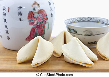 Chinese fortune cookies and teapot - Chinese fortune cookies...