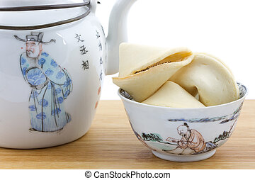 Chinese bowl and teapot with fortune cookies - Chinese bowl...