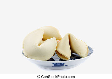 fortune cookies in Chinese bowl isolated on white