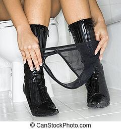 kobieta, toaleta
