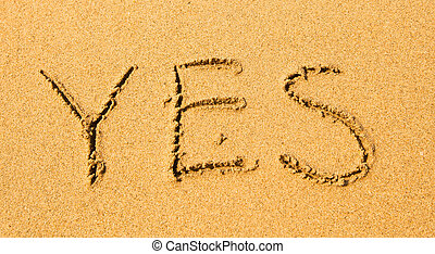 Yes - written in sand on beach texture.