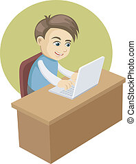 a boy in front of a laptop computer