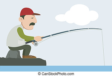 fisherman - a fisherman holding a fishing pole