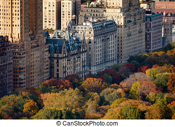 Aerial view Upper West Side - Afternoon light on Central...
