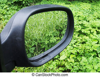 reflection in the rearview mirror