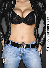 Woman in bra and jacket - Caucasian woman in bra and leather...