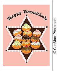 hanukkah,david star and cakes.
