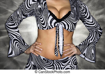 Woman with cleavage. - Caucasian woman in sexy clothing with...